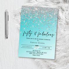Snowflake Invitations, Holiday Invitations, Photo Invitations, Printable Invitations, Birthday Invitations, Invitation Design, Invites, Blue And Silver, Silver Glitter