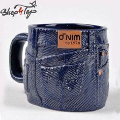 JEANS DENIM PANTS SHAPED MUG CUP COFFEE TEA CERAMIC BLUE FUNNY NOVELTY GIFTS NEW