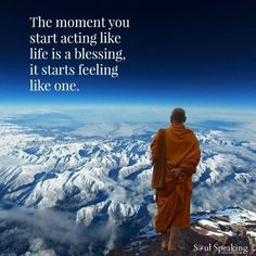 """A Buddhist monk stand on top of Himalayas in meditation""""If a person's basic state of mind is serene and calm, then it is possible for this inner peace to overwhelm a painful physical experience."""" ~ The Dalai Lama"""