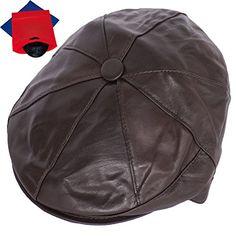 Zeitungsjunge Mütze Flatcap - Newsboy - Bakerboy Genuine 100% Leather Hat - Flat CapNew Men's Flat Cap Vintage Cabbie Hat Gatsby Ivy Caps Newsboy with Stretch fit, Bakerboy Cap (Brown) + Mit gratis Schutztasche