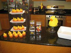 Ducky desert table Desert Table, Deserts, Baby Shower, Food, Baby Sprinkle Shower, Desserts, Meal, Dessert, Baby Sprinkle