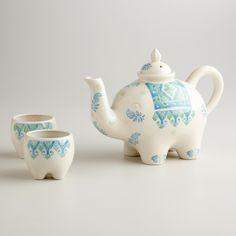 Blue and Green Elephant 3-Piece Tea Set | World Market