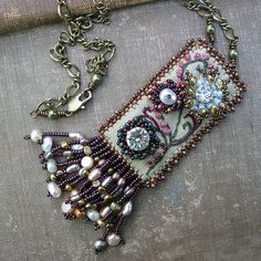 Tapestry Garden Necklace on Celery Linen by sylviawindhurst, via Flickr