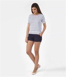 Women's sailor-striped sweatshirt in heavy jersey with 3/4 length sleeves - Marinieres - Women