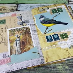 The latest pages in my birds and botanicals #gluebook #collageart #junkjournal #vintage #postagestamps #postcard