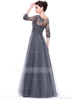 A-Line/Princess Scoop Neck Floor-Length Ruffle Beading Appliques Lace Sequins Zipper Up Covered Button Sleeves 3/4 Sleeves No Other Colors Spring Summer Fall General Plus Tulle Evening Dress