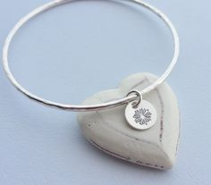 Sterling Silver Bangle with Silver Daisy Charm - SPRING FLOWER £24.00