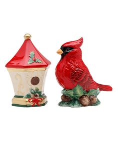 Large Red Cardinal and Holiday Bird House Salt and Pepper Shakers Salt N Peppa, Spode Christmas Tree, Xmas, Christmas Stuff, Christmas Gifts, Christmas Decorations, Salt And Pepper Set, Salt Pepper Shakers, Bird Houses