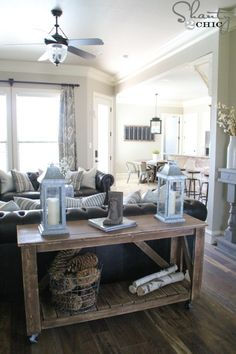 Simple countrified console table - 50 Decorative Rustic Storage Projects For a Beautifully Organized Home
