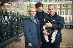 SHERLOCK (BBC) ~ S4 photo: Mary Watson (Amanda Abbington), Sherlock Holmes (Benedict Cumberbatch) and John Watson (Martin Freeman)