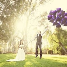 A one year anniversary session, trash the dress with purple peacock plumes, a balloon bouquet and a romantic send off. By Emily Heizer