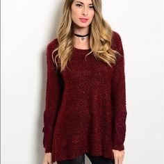 """Burgundy Sweater  Beautiful, warm, cuddly, """"hug me"""" sweater:) 70% acrylic 30% polyester. Available in M L. Comment below for personal listing. Sweaters"""