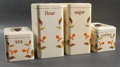 Hall Autumn Leaf Set of 4 Metal Canisters (Flour,Sugar,Coffee,Tea)