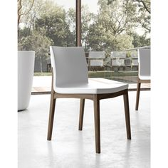 Enna Dining Chair in White on Canaletto Walnut, ,