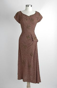 Cocoa color beaded dress from the 1940s.