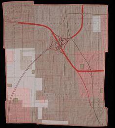 Leah Evans map art quilt