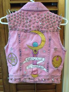 """glitterdickz: """" my sailor moon vest that started out as just a white vest !! everything by me except the pins on the front pockets and the """"pizza my heart"""" patch partner in crime's (sailor jupiter)..."""