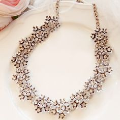 Exquisite Diamante Flowery Alloy Necklace For WomenNecklaces | RoseGal.com