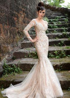 Rami Salamoun S/S 2014 #Couture White mermaid dress with sleeves