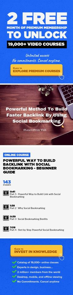 Powerful Way to Build Backlink With Social Bookmarking - Beginner Guide Entrepreneurship, Marketing, Business, SEO, Creativity, Link Building, Social Bookmarking #onlinecourses #onlinelessonsnaturallight #onlinebusinessplan   Hey Guys This Class is all about Building Powerful Backlink Through Social Bookmarking !! Top Filters Website which will Help you rank your Micro Niche , Affiliate Website ...