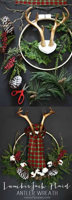 Find inspiration for next week. Find out how to make a Lumber Jack Antler Wreath using tree trimmings from your own yard.