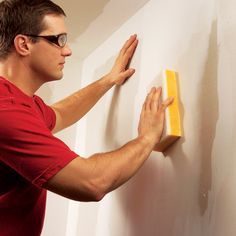 Drywall is a better material than MDF (medium density fiberboard) for walls because its joints are less likely to crack. Wet sanding will avoid dust. Drywall Tape, Drywall Ceiling, Drywall Mud, Drywall Repair, Plaster Repair, Basement Ceilings, Sanding Tips, Hanging Drywall, Drywall Finishing
