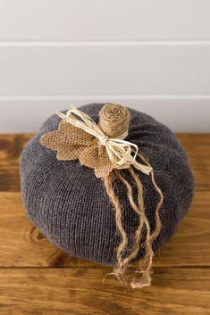 Handmade sweater pumpkin Foam Pumpkins, Mini Pumpkins, Fall Crafts, Crafts To Make, Christmas Crafts, Twine Crafts, Sweater Pumpkins, Thanksgiving Projects, Diy Pumpkin