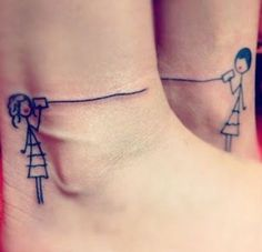 matching best friend tattoos - two stick figure girls talking on string&can phones!