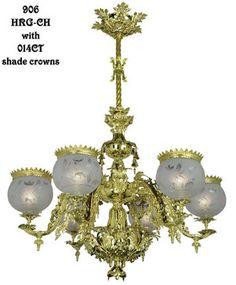 Victorian Chandelier - Neo Rococo Starr-Fellows Circa 1856 6 Light (906-HRG-CH)