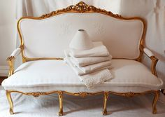 french monogram on french settee