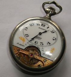 Antique Hebdomas Arnex 8 Day / Jours Pocket Watch in Huguenin Silver Case Runs