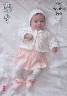 A pretty set of garments to welcome a new arrival – or for not-so-little one who is getting bigger daily. Created using King Cole Comfort Baby DK, a soft and gentle acrylic and nylon blend which is available in a wide range of beautiful shades for you to choose from. Both Matinee Jackets and Cardigan all have round necks, set-in sleeves, a lace motif, and fasten with buttons. The Double Breasted Matinee Jacket and Cardigan have garter stitch bands. The matching Hat has the same...