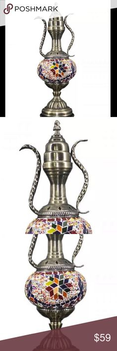 VINTAGE Turkish Glass Mosaic Lamp Swan Neck Pole BEAUTIFUL WORK OF ART: Our handmade table lamp can be artfully displayed. It comprises a bronze metal body and swan neck arm with mosaic lantern that make it look pretty and stunning when it is light up at night. - HIGH QUALITY AND DURABLE: Our Turkish Moroccan Handmade Lamps are made using quality materials. They are brand new, personally checked and will not compromise on quality. LED lighting bulb included Weight : Approx. 1 KG(2lb) GLASS…