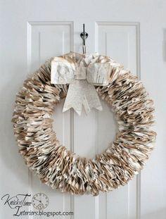 book page wreath, crafts, wreaths