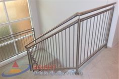 Stainless Steel Rod Balustrade:-Stainless steel double flat bar posts with pin & OD top rail with OD horizontal rod infills. Stainless Steel Balustrade, Stainless Steel Rod, Metal Working, This Is Us, Stairs, Home, Stairway, Metalworking, Stainless Steel Bar