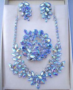 SHERMAN 4-Part Necklace Set Swarovski Blue Aurora Borealis Rhinestones 1960s Era