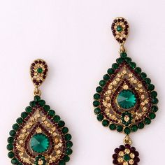 Green and Purple Stone Studded Earring