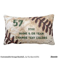 Customizable Grunge Baseball Gifts for Players Lumbar Pillow | Zazzle.com