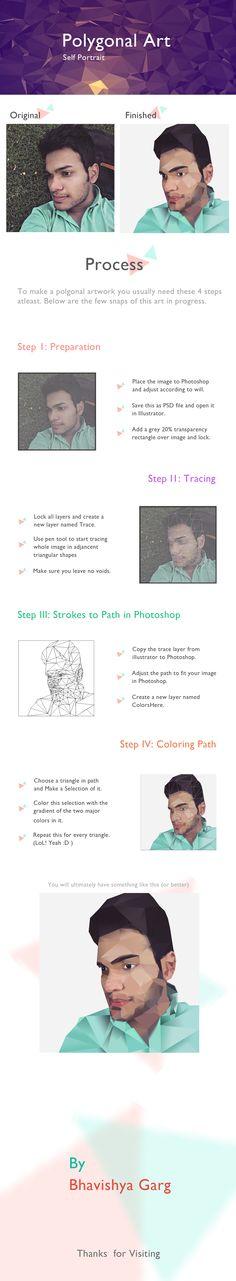 Polygonal Art tutorial. Self Portrait.