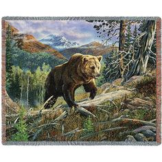 Brown Bear Over The Top Art Tapestry Throw