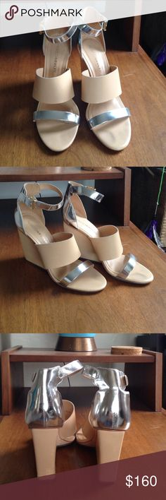 Rebecca Minkoff heels Beautiful silver and nude leather ankle strapped wedge heels. Three inches in height. Only worn twice. Rebecca Minkoff Shoes Heels