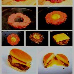 Homemade Hamburgers with Egg Center