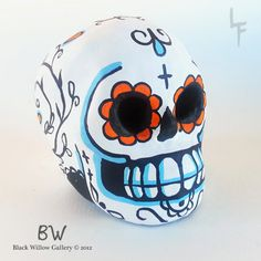 Whimsical Day of the Dead skull Original by BlackWillowGallery, $27.00