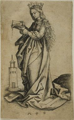 St Barbara, Martin Schongauer, fifteenth century; she is shown with her tower attribute, with its three windows symbolising the Holy Trinity, wearing a martyr's crown. (Art Institute of Chicago)