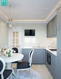 Cozinha maravilhosa, super bem decorada, clarinha, e muito elegante.   Adorable small space modern luxe kitchen