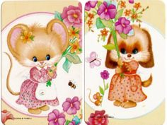 vintage SWAP CARDs 1970s Blank back cute little mouse dog bumble bee & butterfly
