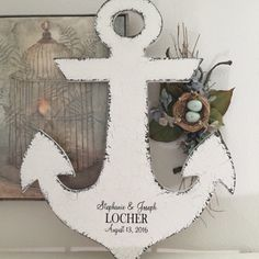 "ANCHOR WEDDING GUESTBOOK designed for your beach or nautical wedding! Also a great piece of wall art for your home. 26"" high"