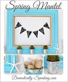 Spring 2013 Mantel: moss, glitter, eggs, twine, starfish, spring, mantel, baker's twine,
