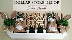 Dollar Store Home Decor ~ EARTH TONE Easter Mantel ~ Bunnies & Burlap!