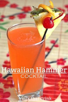 Hawaiian Hammer drink Hawaiian Hammer cocktail drink recipe with banana schnapps, coconut rum, grenadine, orange and pineapple juice. Bar Drinks, Cocktail Drinks, Cocktail Recipes, Fruit Drinks, Banana Rum Drinks, Alcoholic Beverages, Bourbon Drinks, Margarita Recipes, Good Rum Drinks